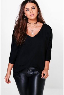 Womens Black Plus Long Sleeve Basic T-Shirt