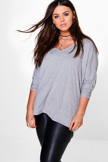 Womens Grey Plus Long Sleeve Basic T-Shirt