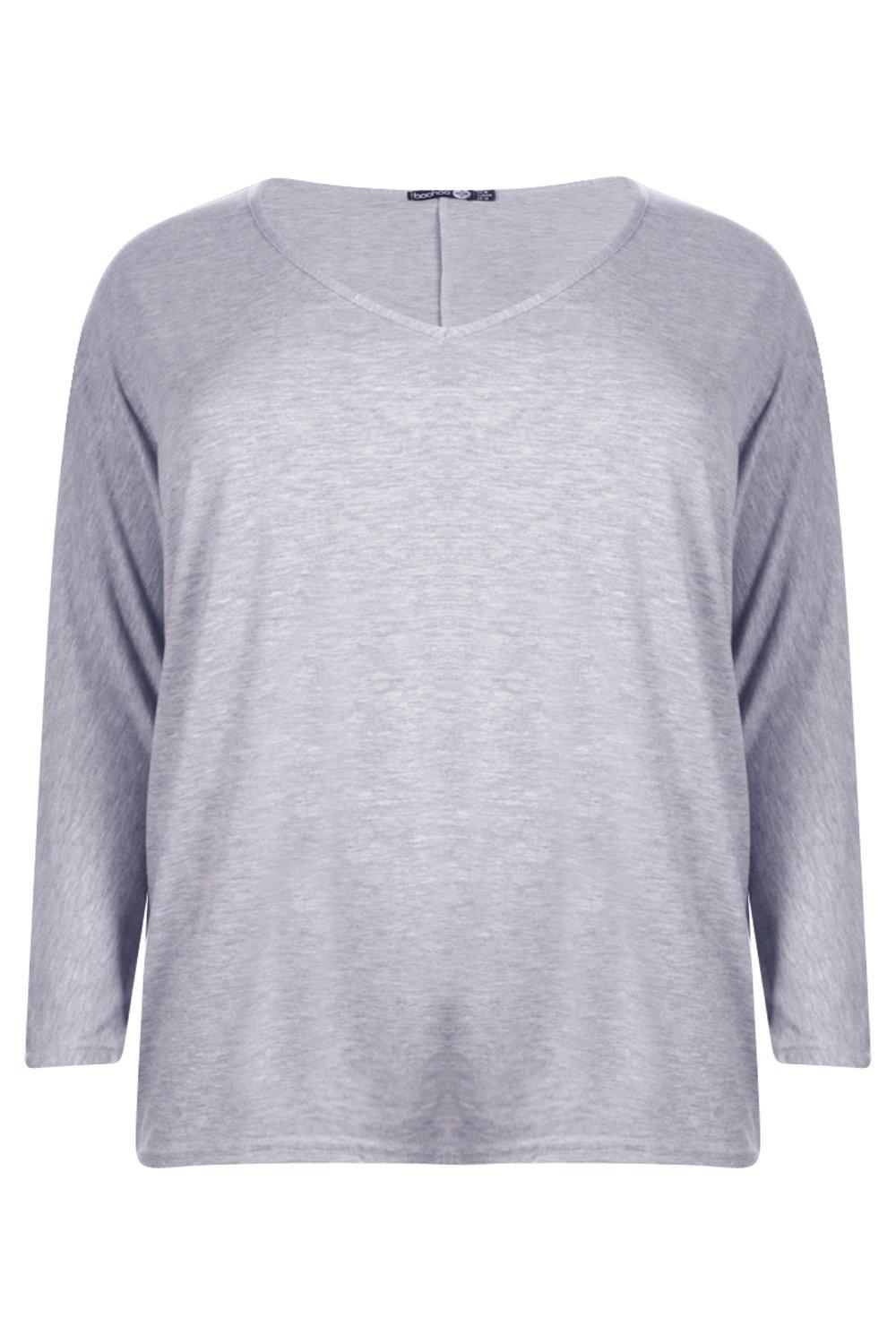Long T Plus grey Sleeve Shirt Basic UwxzdnRqO