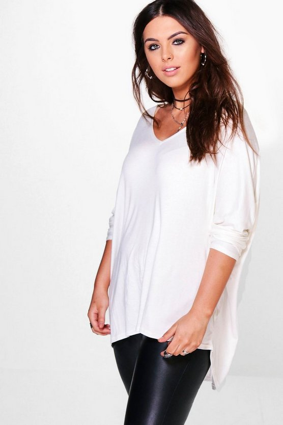 Womens Ivory Plus Long Sleeve Basic T-Shirt