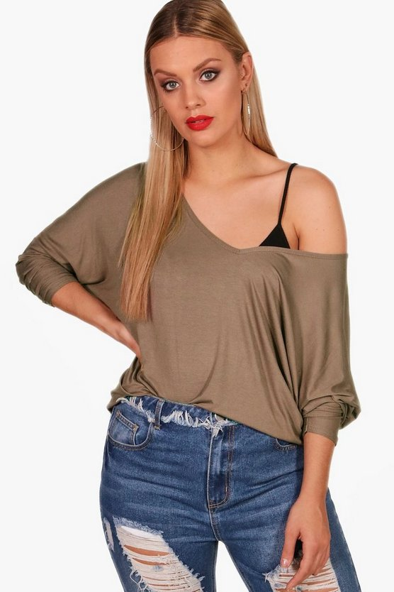 Womens Mink Plus Long Sleeve Basic T-Shirt