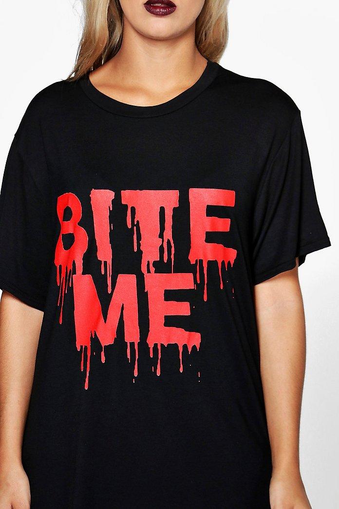 49ebb2aa4564e Plus Lexi Halloween T-Shirt-Kleid mit Slogan | Boohoo