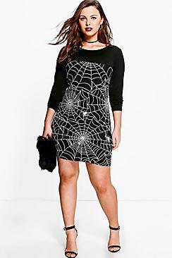 Vintage Retro Halloween Themed Clothing Plus Louise Glow In The Dark Spider Halloween Dress $20.00 AT vintagedancer.com