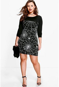 Black Plus Louise Glow In The Dark Spider Halloween Dress