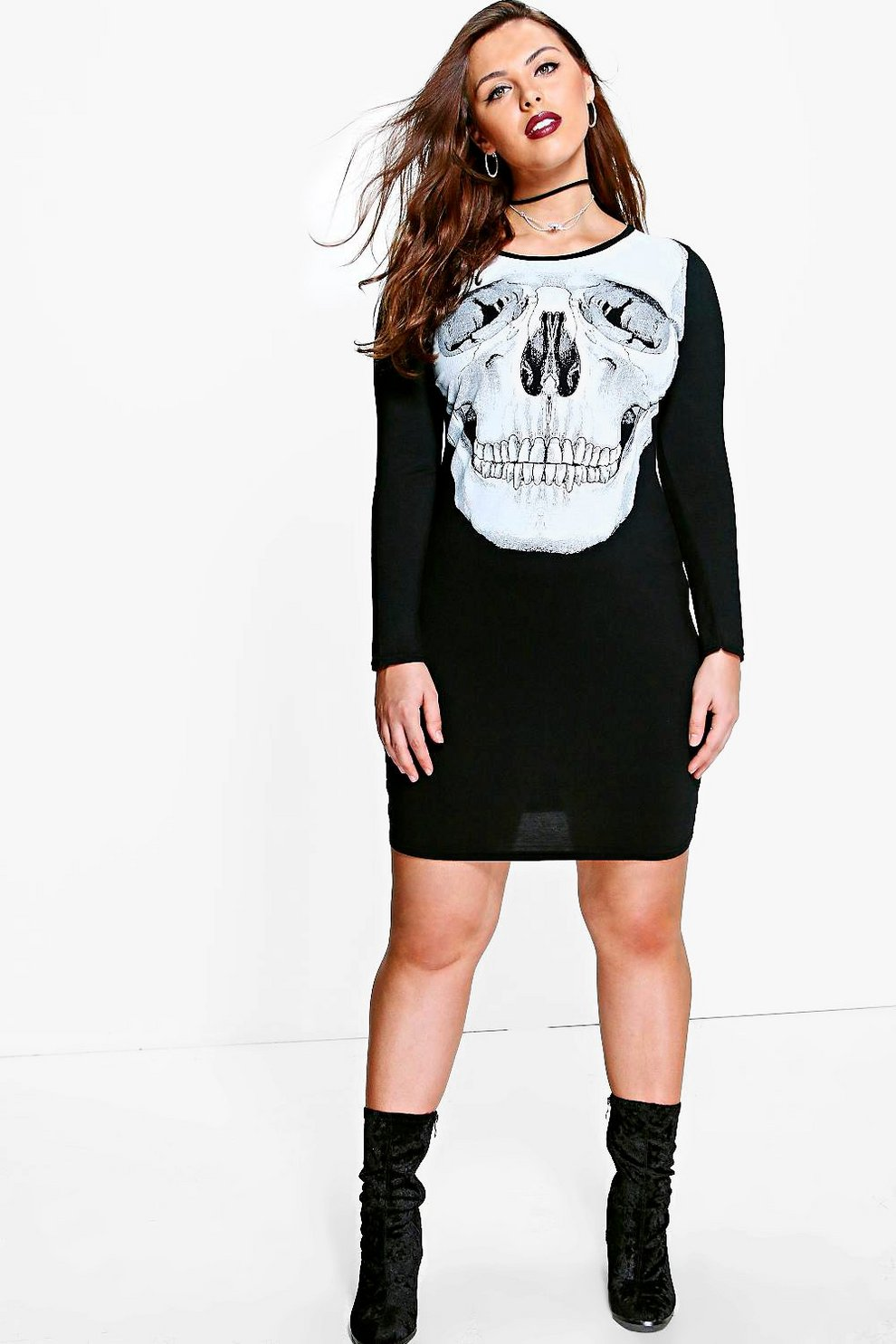 b3b1172d9317 Plus Lola Skeleton Skull Printed Halloween Dress | Boohoo