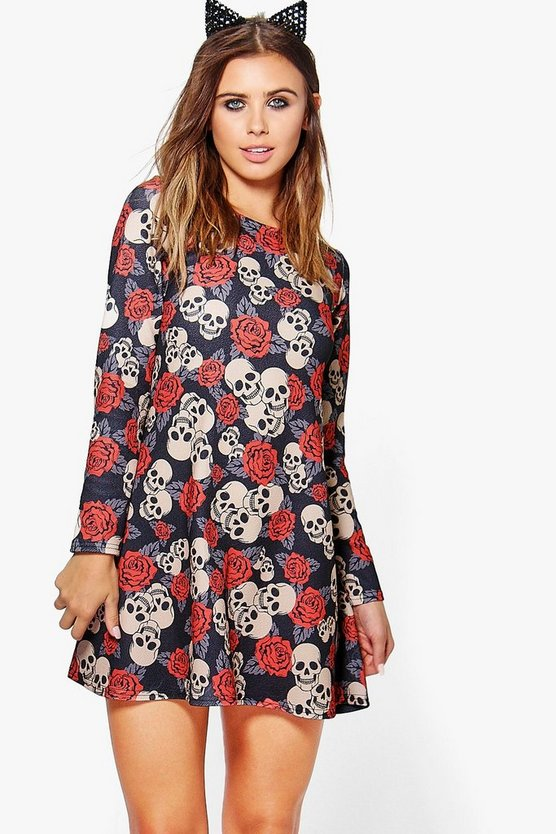 Petite Skull + Rose Halloween Swing Dress