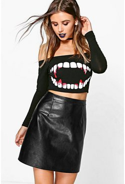 Womens Black Petite Teeth Print Halloween Crop