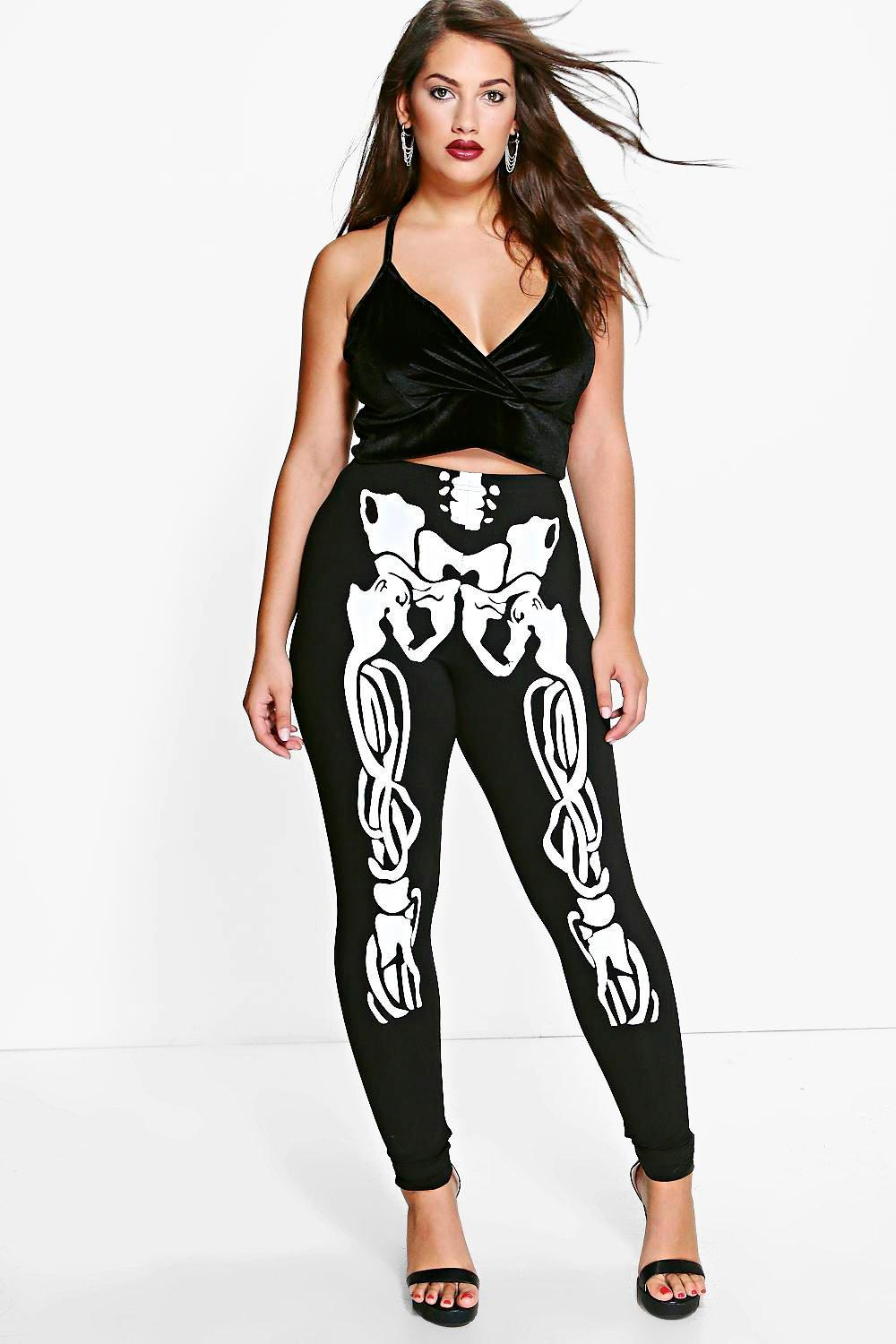 Halloween Legging Plus Skeleton black Printed tUtqExrAw