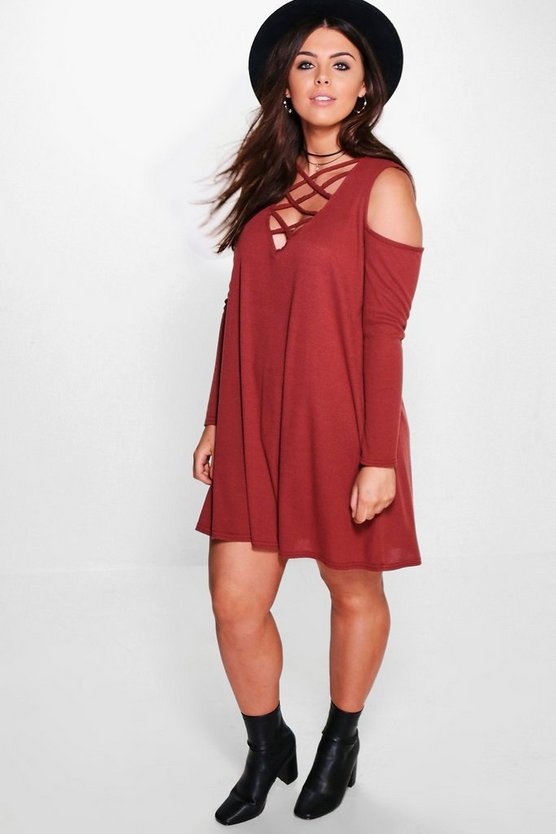 Womens Cinnamon Plus  Ribbed Open Shoulder Swing Dress