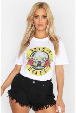 Plus T-Shirt mit Guns'N Roses-Slogan, White