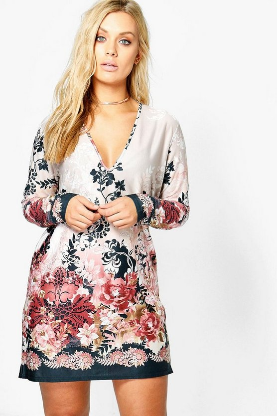Plus  Plunge Border Printed Shift Dress