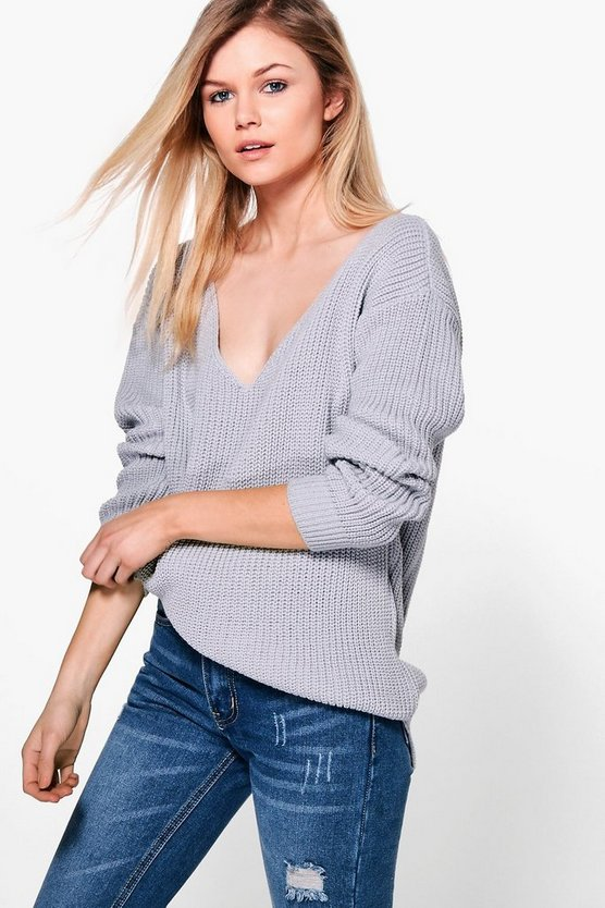 Petite Shauna Oversized V Neck Jumper