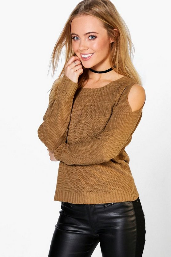 Petite  Cold Shoulder Moss Stitch Jumper