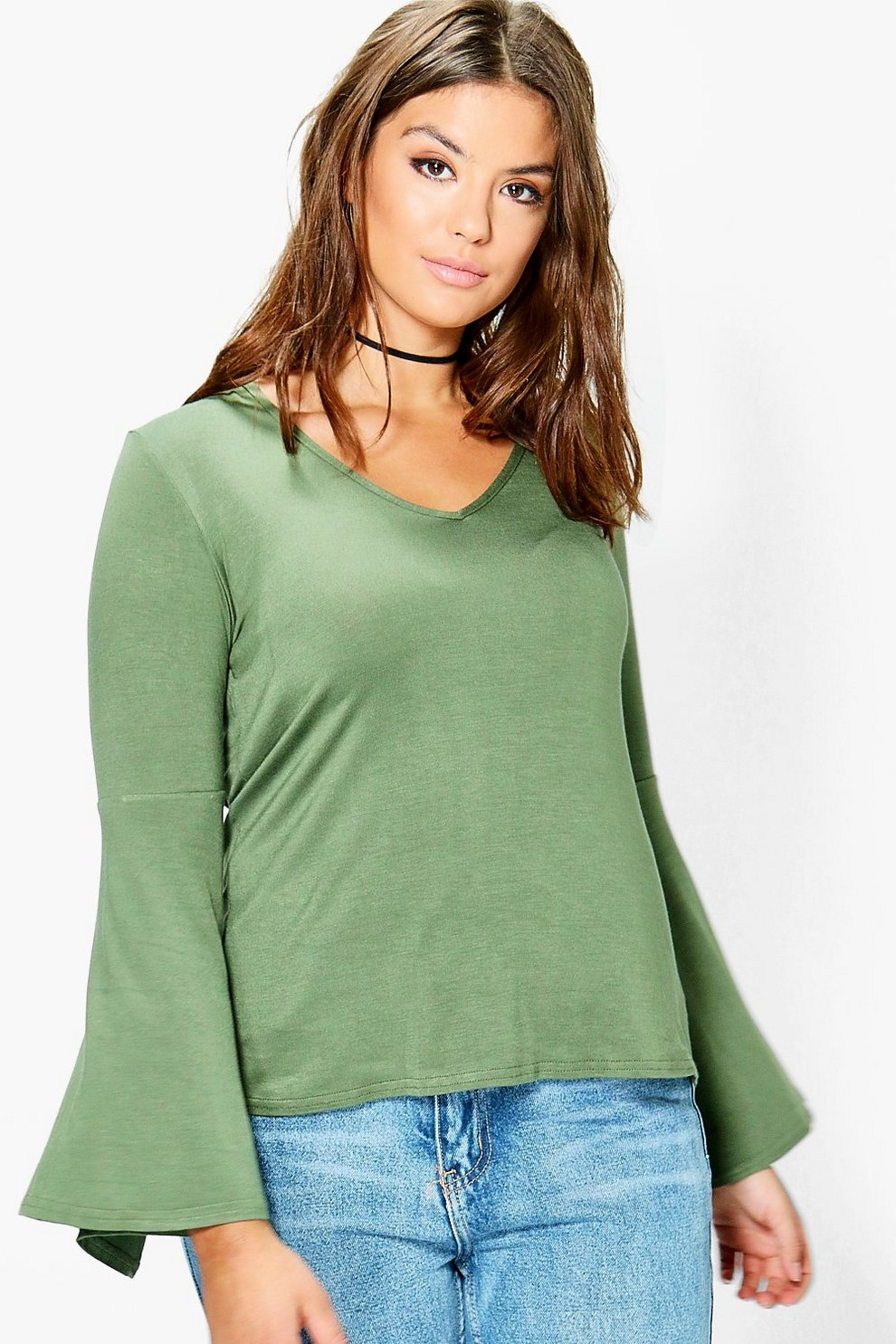 dad9acfd52a64 Plus Jodie Wide Sleeve Jersey Top | Boohoo