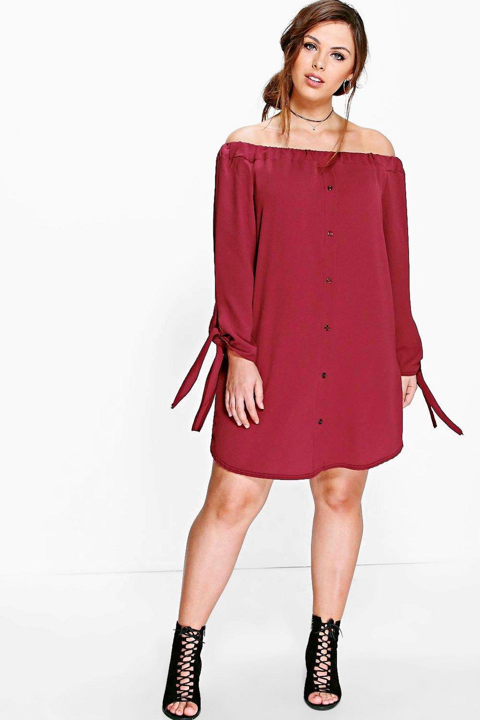 f23986d179a7 Plus Jade Button Front Bardot Shift Dress