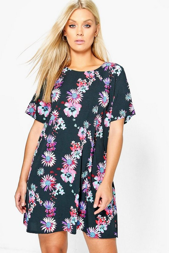 Plus Tia Floral Printed Shift Dress
