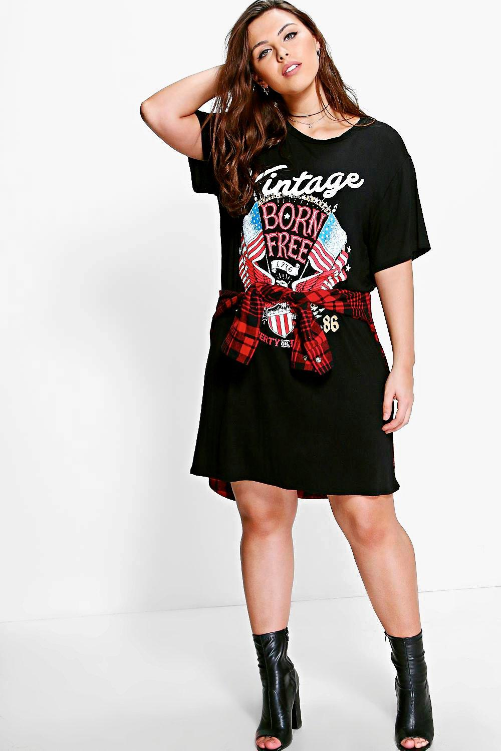 f480a1217ef Womens Black Plus Ivy Printed T-Shirt Dress. Hover to zoom