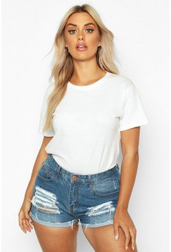 Indigo Plus  Ripped Denim Shorts