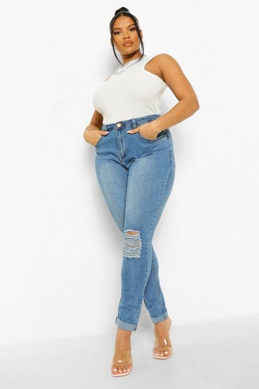 Womens Blue Plus Ripped Knee Stretch Skinny Jean