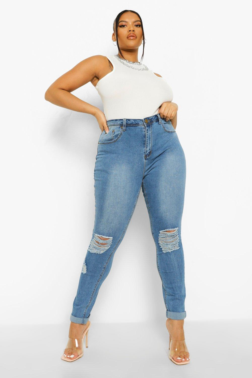 Plus Ripped Skinny Jean Stretch blue Knee rrqdT0