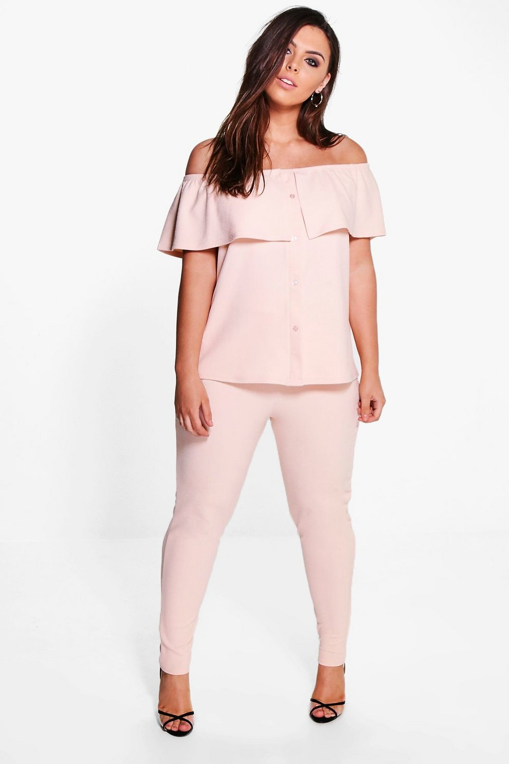 0f97995bef8f42 Plus Catrin Off The Shoulder Top + Trouser Co-ord