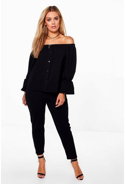 Womens Black Plus Off The Shoulder Top + Trouser Co-ord