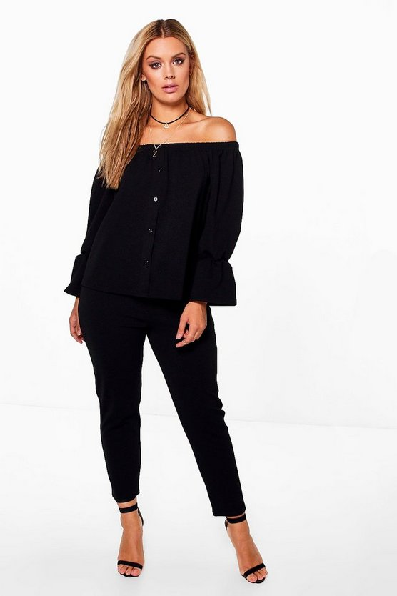 Plus Off The Shoulder Top + Trouser Co-ord