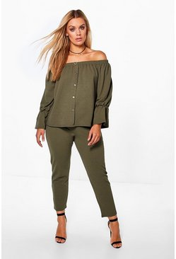 Womens Khaki Plus Off The Shoulder Top + Pants Co-Ord