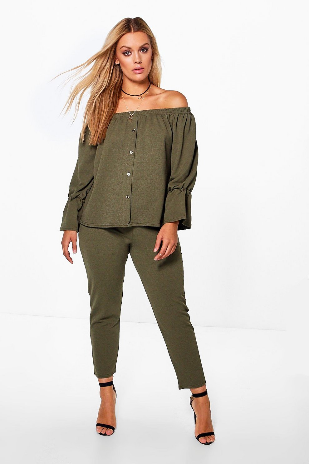 8bf915f8ece Plus Off The Shoulder Top + Trouser Co-ord