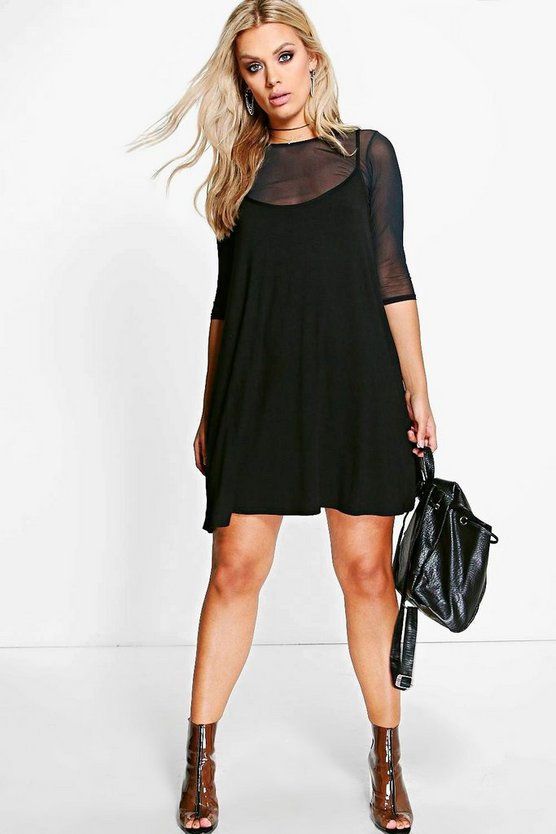 Womens Black Plus Mesh 2 In 1 Cami Dress