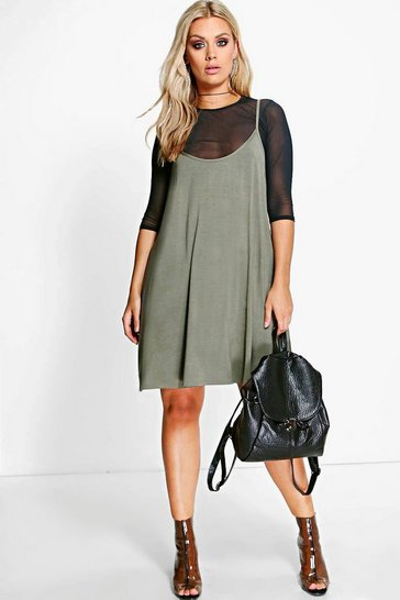 Womens Khaki Plus Mesh 2 In 1 Cami Dress