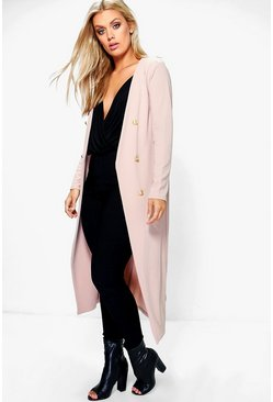 Womens Stone Plus Button Front Longline Duster Jacket