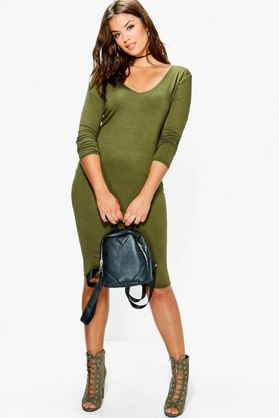 Plus Kady Basic Long Sleeve Midi Bodycon Dress