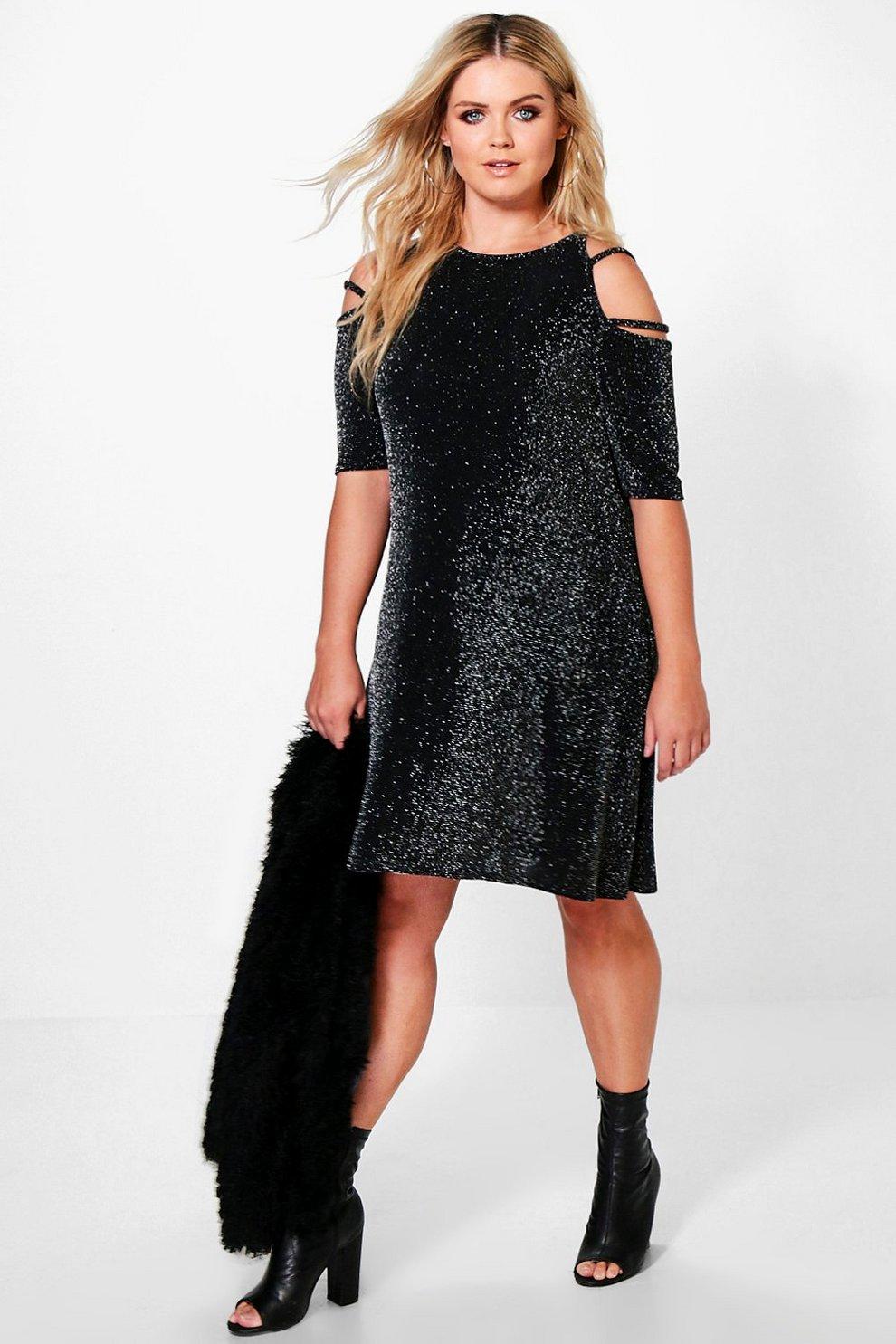 7438721f3290c Womens Multi Plus Kate Strappy Detail Shimmer Dress