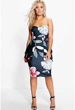 Womens Multi Plus Sinead Floral Peplum Dress
