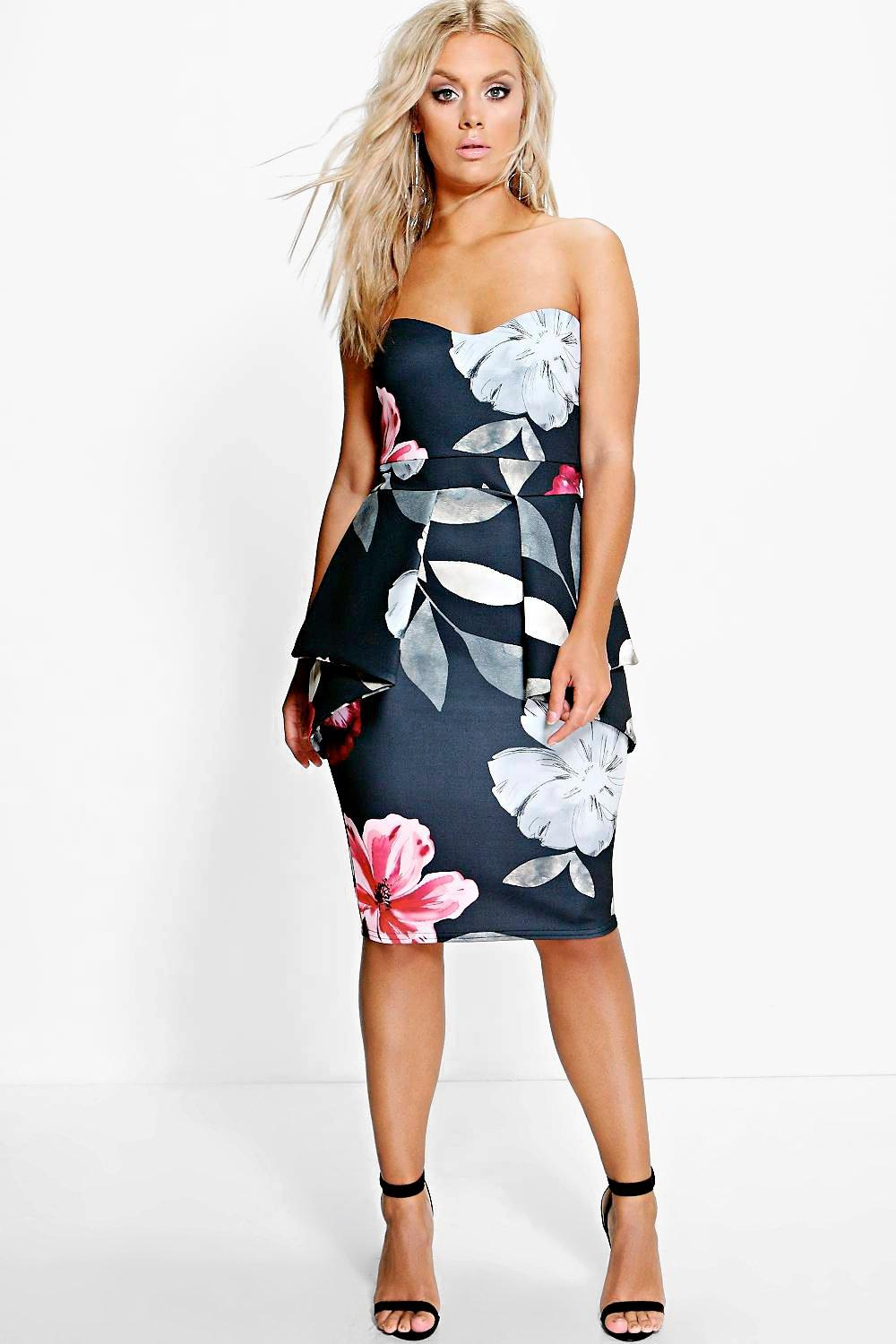 Plus Sinead Floral Peplum Dress | boohoo
