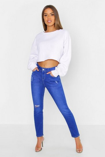 Womens Blue Petite Mid Rise Skinny Ripped Knee Jean