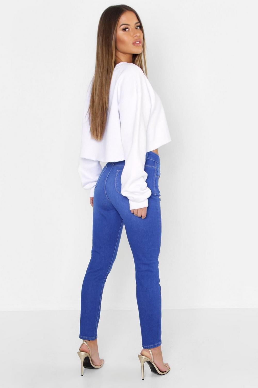 Jean Knee Skinny Rise blue Petite Mid Ripped XqPOzw