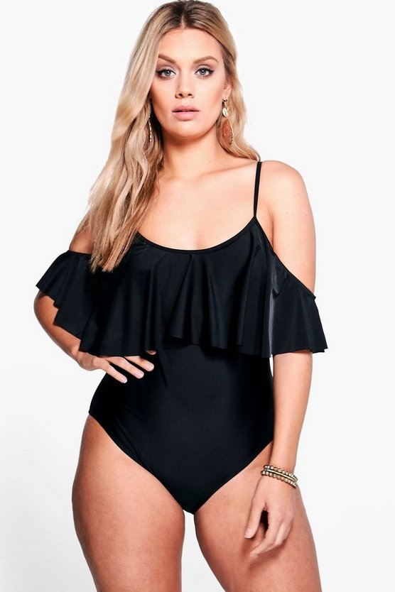 Womens Black Plus  Drape Sleeve Swimsuit
