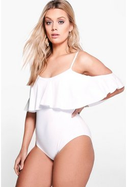 White Plus  Drape Sleeve Swimsuit
