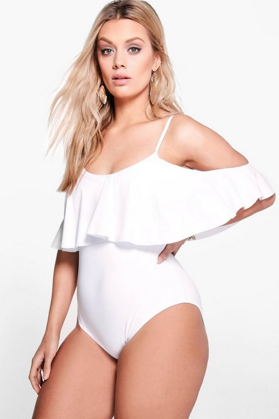 Womens White Plus  Drape Sleeve Swimsuit