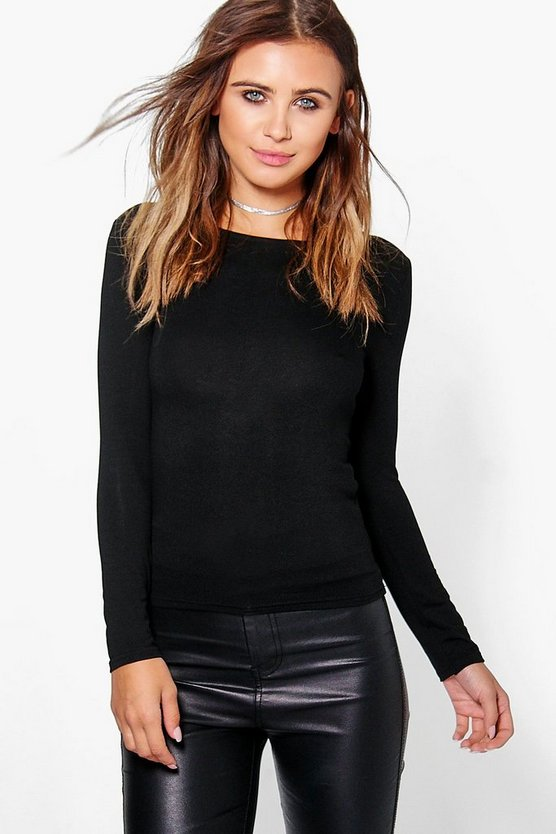 Womens Black Petite Basic Long Sleeve Top