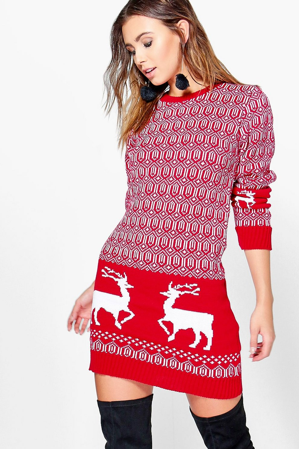 b2b5b2c6f661 Womens Red Petite Lara Reindeer Christmas Knit Dress