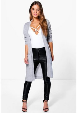 Womens Silver Petite  Midi Length Cardigan With Pockets