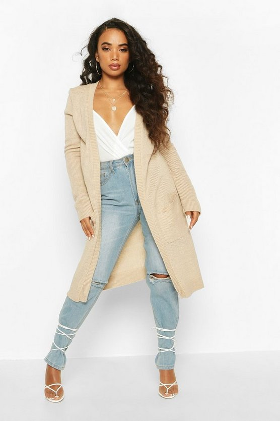 Stone Petite  Midi Length Cardigan With Pockets