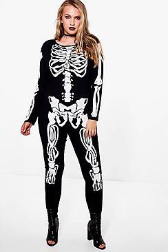 Vintage Retro Halloween Themed Clothing Plus Jenny Skeleton Print Halloween Jumpsuit $28.00 AT vintagedancer.com
