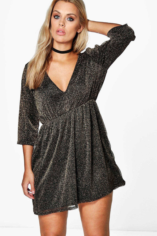 Plus Sophia Glitter Plunge Dress | Boohoo