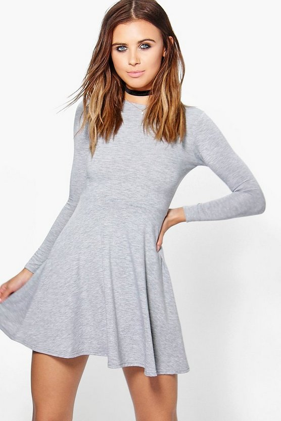 Petite Basic Long Sleeve Skater Dress