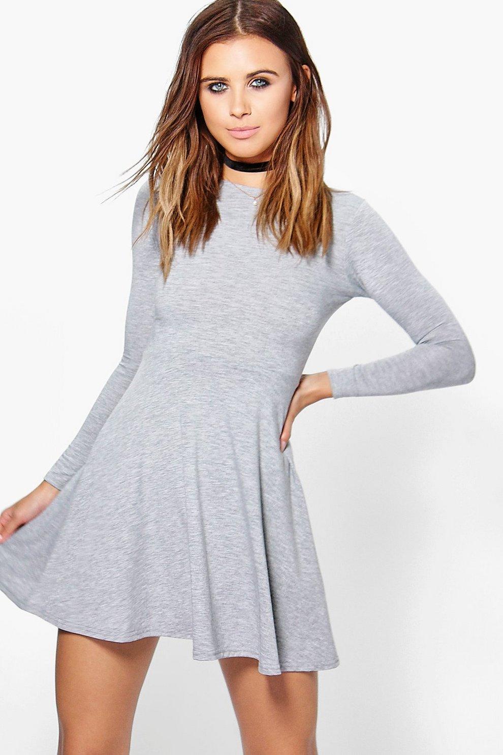 6a786d811f Petite Basic Long Sleeve Skater Dress