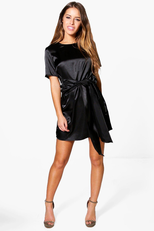 Charlie Satin Tie Waist Shift Dress  black